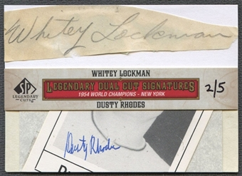 2011 SP Legendary Cuts #NYK54LR Whitey Lockman & Dusty Rhodes Legendary Dual Signatures Cut Auto #2/5