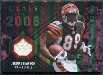 2008 Upper Deck Icons Class of 2008 Jersey Silver #CO22 Jerome Simpson /199