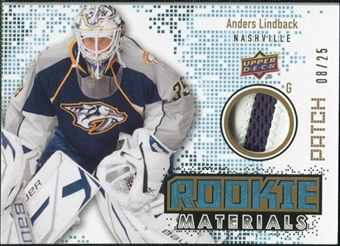 2010/11 Upper Deck Rookie Materials Patches #RMAL Anders Lindback /25