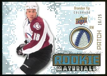 2010/11 Upper Deck Rookie Materials Patches #RMBY Brandon Yip 16/25