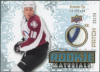 2010/11 Upper Deck Rookie Materials Patches #RMBY Brandon Yip /25