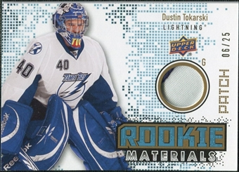 2010/11 Upper Deck Rookie Materials Patches #RMDT Dustin Tokarski /25