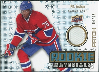 2010/11 Upper Deck Rookie Materials Patches #RMPS P.K. Subban /25
