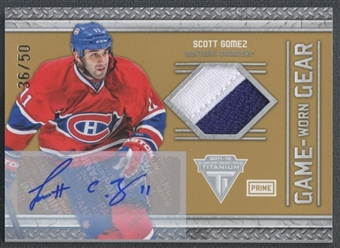 2011/12 Panini Titanium #18 Scott Gomez Game Worn Gear Patch Auto #36/50
