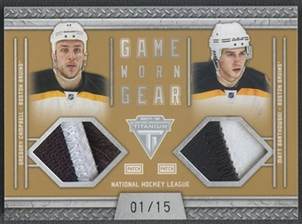 2011/12 Panini Titanium #48 Gregory Campbell & Matt Bartkowski Game Worn Gear Dual Memorabilia Patch #01/15