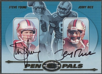 2000 Donruss Preferred #PP42 Jerry Rice & Steve Young Pen Pals Auto /40 SSP