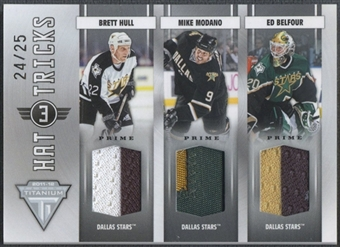 2011/12 Panini Titanium #14 Brett Hull Mike Modano Ed Belfour Hat Tricks Patch #24/25