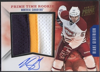 2011/12 Panini Prime #40 Blake Geoffrion Prime Time Rookie Patch Auto #02/15