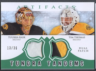 2012/13 Artifacts #TTTR Tuukka Rask & Tim ThomasTundra Tandems Emerald Patch #13/36