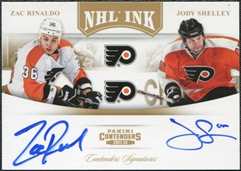 2011/12 Contenders NHL Ink Duals Gold #4 Zac Rinaldo Jody Shelley Autograph 7/25