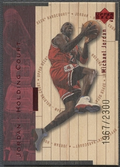 1998 Upper Deck Hardcourt #J30 Michael Jordan Jordan Holding Court Red #1967/2300