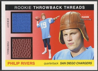 2004 Fleer Tradition #TTPR Philip Rivers Rookie Throwback Threads Ball Jersey #34/50