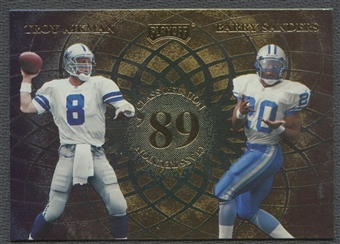 1998 Playoff Momentum #7 Troy Aikman, Barry Sanders, Deion Sanders, & Andre Rison Class Reunion Quads