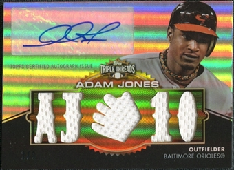 2012  Topps Triple Threads Relic Autographs Gold #TTAR236 Adam Jones 2/9