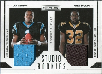 2011 Panini Rookies and Stars Studio Rookies Combos Materials #1 Cam Newton/Mark Ingram /299