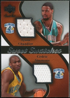 2007/08 Upper Deck Sweet Shot Sweet Swatches Dual #CS Tyson Chandler/Cedric Simmons
