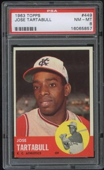 1963 Topps Baseball #449 Jose Tartabull PSA 8 (NM-MT) *5857