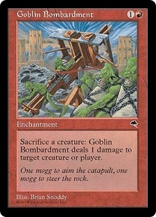 Magic the Gathering Tempest Single Goblin Bombardment LIGHT PLAY (NM)