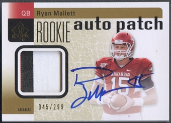 2011 SP Authentic #208 Ryan Mallett Rookie Auto Patch #045/299