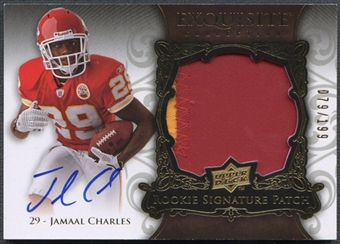 2008 Exquisite Collection #148 Jamaal Charles Rookie Patch Auto #079/199