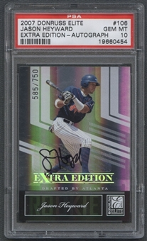 2007 Donruss Elite Extra Edition #106 Jason Heyward Rookie Auto #585/750 PSA 10
