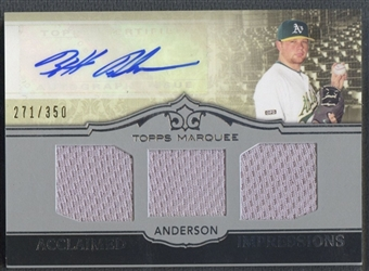 2011 Topps Marquee #AIT20 Brett Anderson Acclaimed Impressions Triple Relic Jersey Auto #271/350