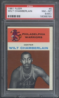 1961/62 Fleer Basketball #8 Wilt Chamberlain Rookie PSA 8 (NM-MT) (MC) *8765