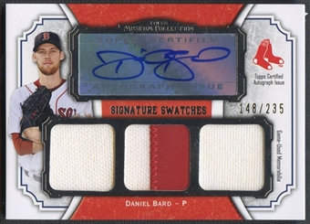 2012 Topps Museum Collection #DB Daniel Bard Signature Swatches Triple Relic Jersey Auto #148/235