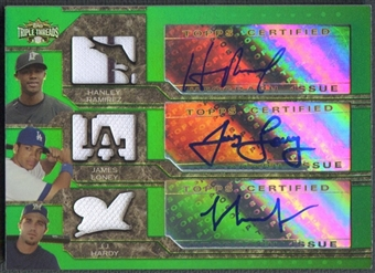 2008 Topps Triple Threads #22 Hanley Ramirez, James Loney, & J.J. Hardy Jersey Auto #09/18
