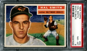 1956 Topps Baseball #62 Hal Smith PSA 8 (NM-MT) *7588