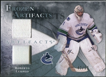 2010/11 Upper Deck Artifacts Frozen Artifacts Jersey Patch Blue #FARL Roberto Luongo /50
