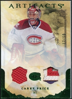 2010/11 Upper Deck Artifacts Jerseys Patches Emerald #7 Carey Price /50