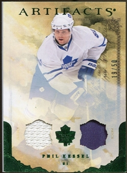 2010/11 Upper Deck Artifacts Jerseys Patches Emerald #36 Phil Kessel /50
