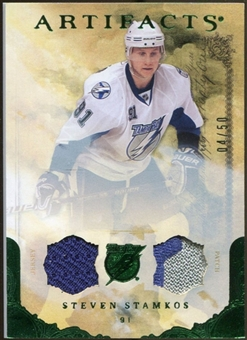 2010/11 Upper Deck Artifacts Jerseys Patches Emerald #48 Steven Stamkos /50