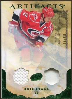 2010/11 Upper Deck Artifacts Jerseys Patches Emerald #53 Eric Staal /50