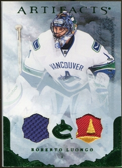 2010/11 Upper Deck Artifacts Jerseys Patches Emerald #61 Roberto Luongo 14/50