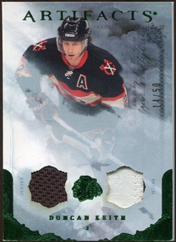 2010/11 Upper Deck Artifacts Jerseys Patches Emerald #92 Duncan Keith /50