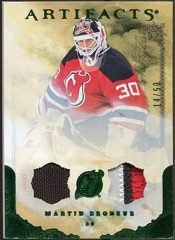 2010/11 Upper Deck Artifacts Jerseys Patches Emerald #93 Martin Brodeur 4/50