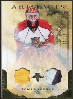 2010/11 Upper Deck Artifacts Jerseys Patches Gold #19 Tomas Vokoun 3/15