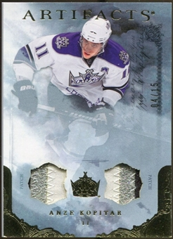 2010/11 Upper Deck Artifacts Jerseys Patches Gold #44 Anze Kopitar 4/15