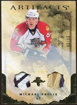 2010/11 Upper Deck Artifacts Jerseys Patches Gold #70 Michael Frolik 3/15