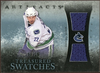 2010/11 Upper Deck Artifacts Treasured Swatches Blue #TSSE Daniel Sedin /35