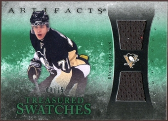 2010/11 Upper Deck Artifacts Treasured Swatches Emerald #TSEM Evgeni Malkin 9/15