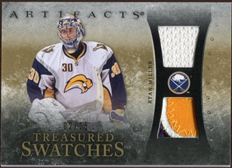 2010/11 Upper Deck Artifacts Treasured Swatches Jersey Patch Gold #TSRM Ryan Miller 2/15