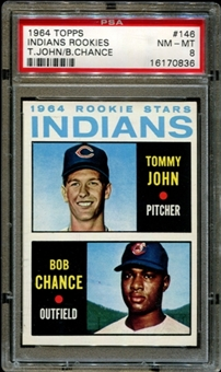 1964 Topps Baseball #146 Tommy John Rookie PSA 8 (NM-MT) *0836