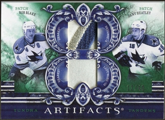 2010/11 Upper Deck Artifacts Tundra Tandems Patches Emerald #TT2SJS Dany Heatley/Rob Blake 12/40