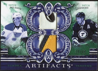 2010/11 Upper Deck Artifacts Tundra Tandems Patches Emerald #TT2BLUES David Backes/Paul Kariya 36/40