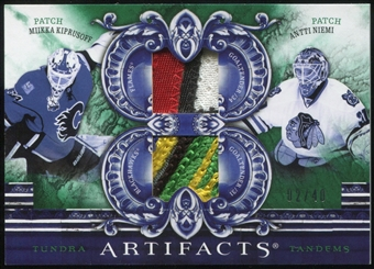 2010/11 Upper Deck Artifacts Tundra Tandems Patches Emerald #TT2FNGOL Miikka Kiprusoff Antti Niemi 2/40