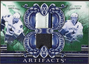 2010/11 Upper Deck Artifacts Tundra Tandems Patches Emerald #TT2TWINS Daniel Sedin/Henrik Sedin /40