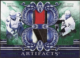 2010/11 Upper Deck Artifacts Tundra Tandems Patches Emerald #TT22004 Alexander Ovechkin/Evgeni Malkin 3/40